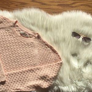 LOFT Chunky Crochet Knit Sweater in Blush Pink